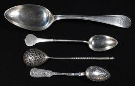 A Russian silver and niello spoon, 15cm long, kokoshnik mark, early 20th century; others (4), 4.5oz