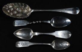 An early 19th century Scottish Provincial spoon, twisted haft, 16cm long, George Elder, Banff c.