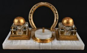 A 19th century gilt metal and white onyx rectangular ink stand, of equestrian interest, the