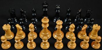 A Staunton pattern chess set, by J Jaques & Son Ltd, London, signed, the pieces marked for King's