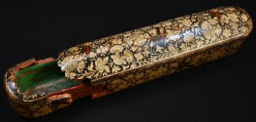 A 19th century Indian papier mache qalamdan pen box, brightly decorated in the Persian Islamic