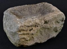A 19th century limestone rectangular bird bath, 21cm long, 16cm wide