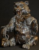 A 19th century Italian dark patinated bronze novelty table snuff, cast as a bear, seated