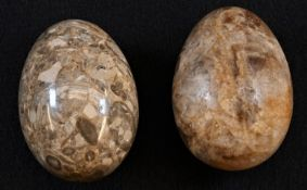 A 19th century Derbyshire fluorspar egg, probably Crich, 7cm long; another 19th century geology