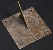 A 19th century brass sundial, Roman numerals, shaped gnomon, 9cm wide