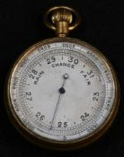 A 19th century gilt brass pocket aneroid barometer, 4.5cm dial with adjustable outer chapter, 6.
