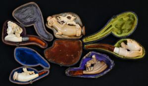 A 19th century novelty Meerschaum pipe, the bowl carved with chicks hatching from an egg, the