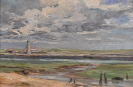 Dorothy Walker (20th century) The Thunder Cloud signed, label to verso, oil on canvas, 29cm x 44cm