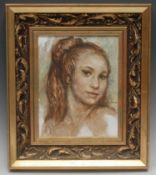 **O' Brian Portrait of an Irish Girl signed, titled to verso, oil on board, 27cm x 20cm