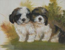 B** Harris (20th century) Cute Puppies signed, oil on board, 38cm x 48cm