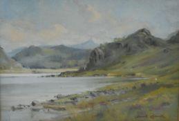 David Hewitt (fl.1900-1910) Lakescape signed, oil on board, 23cm x 31cm