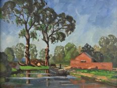 Christopher Keating (exh.1935-1940) The Barge signed, oil on board, 30cm x 39cm