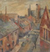 Edith Beatrice Banks (mid 20th century) Old Morris Works, Coventry signed, oil on board, 60cm x 57cm
