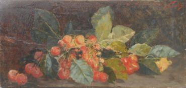 Adolfo Feragutti Visconti (1850 - 1924) Still Life, Leaves and Berries signed, inscribed **bon ami