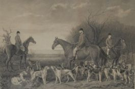 Charles Lewis, by, Thomas Slingsby, after, huntsman and hounds, monochrome engraving, in pencil,
