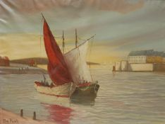 DE Puck (10th/20th century) Dropping Sails, Days Catch signed, oil on canvas, 58cm x 79cm