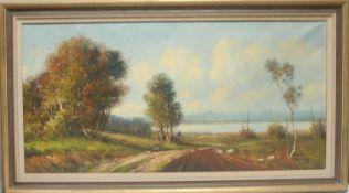 A Ferretti Extensive Landscape signed, oil on canvas, 48cm x 98cm
