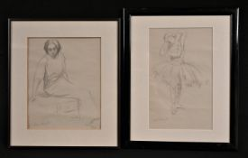After Laura Knight Ballerina bears signature, pencil, 27.5cm x 17cm; another, seated lady, 25cm x