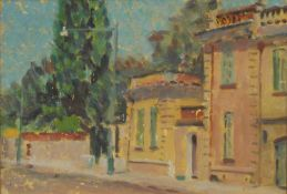 Attrtibuted to Charles Archer A.R.C.A Villa a Canne, France inscribed to verso and dated 1956, oil