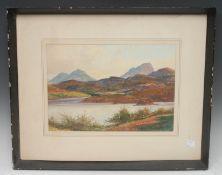 E Trevor Stack Polly Lake signed, titled, watercolour, 24.5cm x 34cm