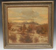 Alfred Hierl (German, mid 20th century) Winter Landscape signed, oil on board, 50cm x 35cm
