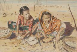 A B Ibrahim (Malaysian School) Preparing Fish on the Beach signed, watercolour, 37cm x 55cm