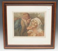 Continental School (early 20th century) Offering Snuff indistinctly signed Dall*, watercolour,