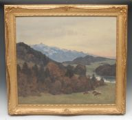 Alfred Hierl (German, mid 20th century) Cattle Grazing, Ronsdorf, Rheinland signed, oil on board,