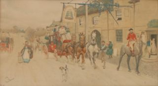 Cecil Aldin, after, The Great North Road, The Bell at Bilston and The Bull at Dartford, 33cm x 58cm,