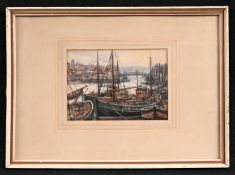 Albert Jackson (late 19th watercolur) Moored Sailing Boats signed, watercolour, 11.5cm x 16.5cm