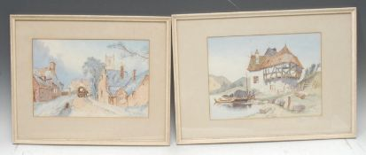 Continental School A Pair, Lund and Stoltzenfels, Rhine one indistinctly signed, dated 1864,