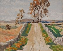 D**J** Hasting (20th century) Scottish Impressionist, Highway in Borque signed, oil on board, 19cm x