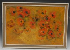 Brian Benjamin Poppies signed, oil on canvas, 50cm x 75cm