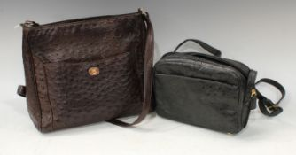 Luxury Fashion - an Italian brown ostrich skin lady's handbag, 31cm wide; another, black, 23cm wide,