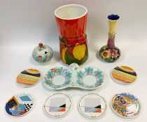 20th century Design - a 1930s Clarice Cliff Newport Pottery Leaf & Berries pattern two piece