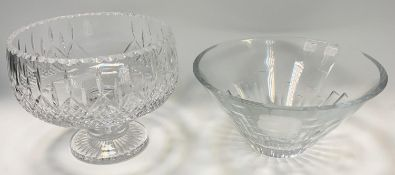 Stuart Crystal - a large pedestal fruit bowl 21.5cm high x 26cm diameter; another of tapering
