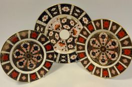 Royal Crown Derby 1128 dessert plate; another; a 2451 dinner plate (3)