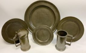 Metalware - a mid 18th century pewter plate, Thomas Lanyon, Bristol 1715 - 17550; others, smaller;