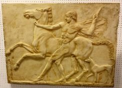 A British Museum resin composition replica of 'A relief of a Youth and a Horse which was found in