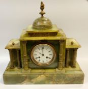 An onyx mantel clock by Japy Freres retailed through Bennetts of London