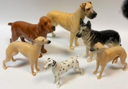 Beswick dog models - Champion of Oubrough; Champion Ulrika of Brittas; whippet 1786A; another