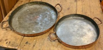 Kitchenalia - a 19th century Benham & Sons copper twin handled skillet, 55cm diameter; another,