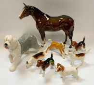 Beswick and Royal Doulton figures including Royal Doulton Old English Sheepdog, Beswick Jack