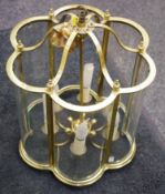 A 20th century brass and glass shaped circular six light ceiling lantern, 53cm high