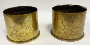 Trench Art - a pair of WWI period German shell case vases, each embossed with George and the Dragon,