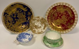 A Royal Crown Derby Red Aves cabinet plate; another, Blue Aves; a Blue Aves two handled soup bowl;