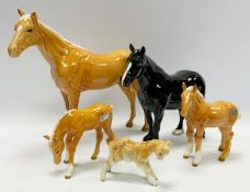 Beswick horses - Dales pony, black gloss; others, Palomino stallion, foal and foal grazing; a