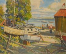 J**H**Walker (20th century) Estuary and Beached Boats signed, oil on canvas, 50cm x 60cm