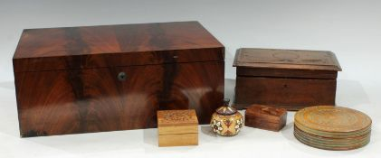 An early Victorian flame mahogany box, Bramah lock, c.1840; a chip-carved box, the interior fitted