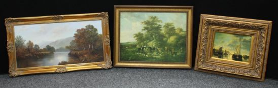 Pictures and Prints - * W Reeves, 20th century, Misty River Valley, oil on canvas, signed 50cm x